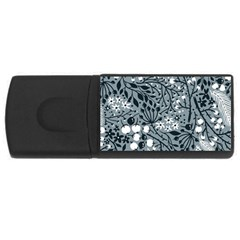 Abstract Floral Pattern Grey Rectangular Usb Flash Drive