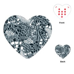 Abstract Floral Pattern Grey Playing Cards (heart)