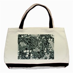 Abstract Floral Pattern Grey Basic Tote Bag