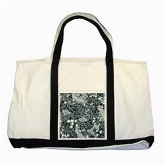 Abstract Floral Pattern Grey Two Tone Tote Bag