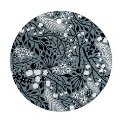 Abstract Floral Pattern Grey Round Ornament (two Sides)