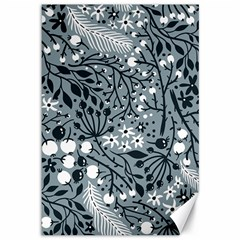 Abstract Floral Pattern Grey Canvas 12  X 18