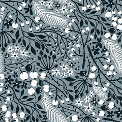 Abstract Floral Pattern Grey Canvas 16  X 16