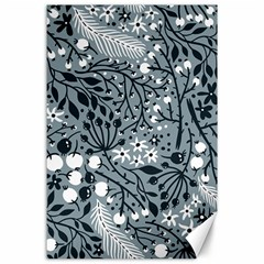Abstract Floral Pattern Grey Canvas 24  X 36