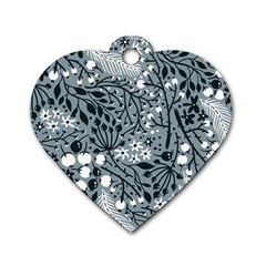 Abstract Floral Pattern Grey Dog Tag Heart (one Side)