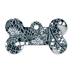 Abstract Floral Pattern Grey Dog Tag Bone (two Sides)