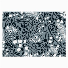 Abstract Floral Pattern Grey Large Glasses Cloth