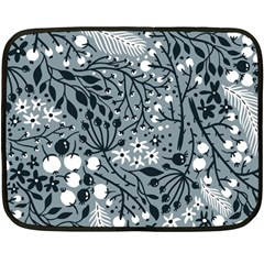 Abstract Floral Pattern Grey Double Sided Fleece Blanket (mini)