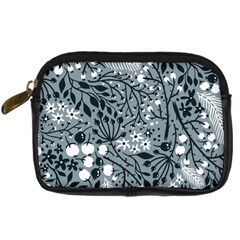 Abstract Floral Pattern Grey Digital Camera Cases