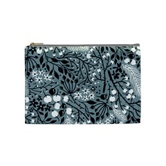 Abstract Floral Pattern Grey Cosmetic Bag (medium)