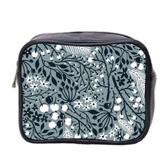 Abstract Floral Pattern Grey Mini Toiletries Bag 2 Side