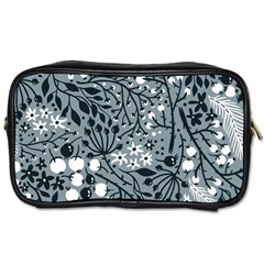 Abstract Floral Pattern Grey Toiletries Bags 2 Side