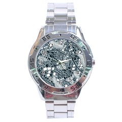 Abstract Floral Pattern Grey Stainless Steel Analogue Watch
