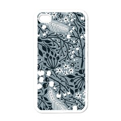 Abstract Floral Pattern Grey Apple Iphone 4 Case (white)