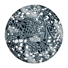 Abstract Floral Pattern Grey Round Filigree Ornament (two Sides)