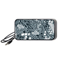 Abstract Floral Pattern Grey Portable Speaker (black)