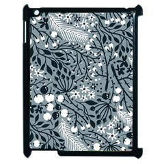 Abstract Floral Pattern Grey Apple Ipad 2 Case (black)