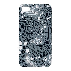 Abstract Floral Pattern Grey Apple Iphone 4/4s Hardshell Case