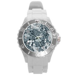 Abstract Floral Pattern Grey Round Plastic Sport Watch (l)