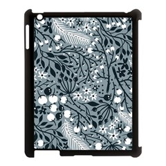 Abstract Floral Pattern Grey Apple Ipad 3/4 Case (black)