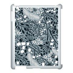 Abstract Floral Pattern Grey Apple Ipad 3/4 Case (white)