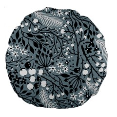 Abstract Floral Pattern Grey Large 18  Premium Round Cushions