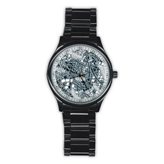 Abstract Floral Pattern Grey Stainless Steel Round Watch
