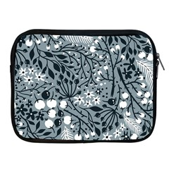 Abstract Floral Pattern Grey Apple Ipad 2/3/4 Zipper Cases