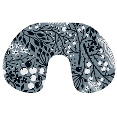 Abstract Floral Pattern Grey Travel Neck Pillows