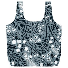 Abstract Floral Pattern Grey Full Print Recycle Bags (l)