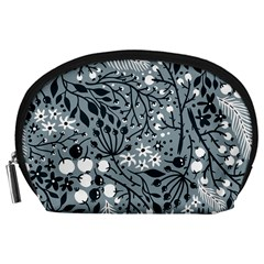 Abstract Floral Pattern Grey Accessory Pouches (large)