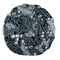 Abstract Floral Pattern Grey Large 18  Premium Flano Round Cushions