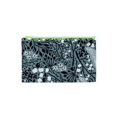 Abstract Floral Pattern Grey Cosmetic Bag (xs)