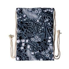Abstract Floral Pattern Grey Drawstring Bag (small)