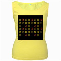 Digital Art Dark Pattern Abstract Orange Black White Twenty One Pilots Women s Yellow Tank Top