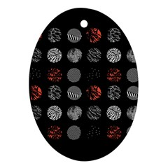 Digital Art Dark Pattern Abstract Orange Black White Twenty One Pilots Oval Ornament (two Sides)