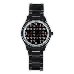 Digital Art Dark Pattern Abstract Orange Black White Twenty One Pilots Stainless Steel Round Watch