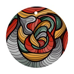 Beautiful Pattern Background Wave Chevron Waves Line Rainbow Art Ornament (round)