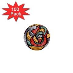 Beautiful Pattern Background Wave Chevron Waves Line Rainbow Art 1  Mini Magnets (100 Pack)
