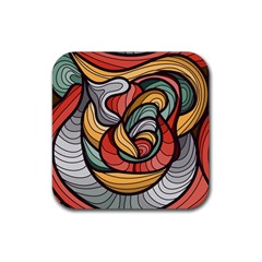 Beautiful Pattern Background Wave Chevron Waves Line Rainbow Art Rubber Coaster (square)