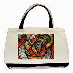 Beautiful Pattern Background Wave Chevron Waves Line Rainbow Art Basic Tote Bag (two Sides)