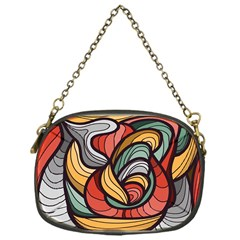 Beautiful Pattern Background Wave Chevron Waves Line Rainbow Art Chain Purses (one Side)