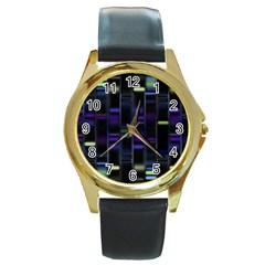 Biostatistics Line Blue Round Gold Metal Watch