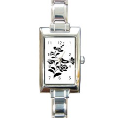 Birds Flower Rose Black Animals Rectangle Italian Charm Watch