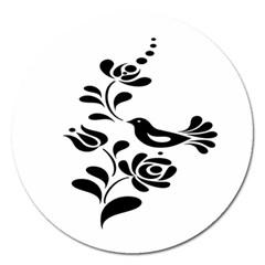 Birds Flower Rose Black Animals Magnet 5  (round)