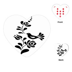 Birds Flower Rose Black Animals Playing Cards (heart)
