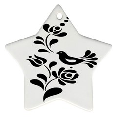 Birds Flower Rose Black Animals Star Ornament (two Sides)