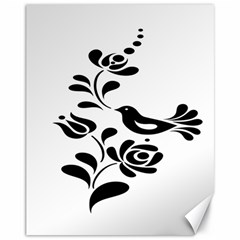 Birds Flower Rose Black Animals Canvas 11  X 14