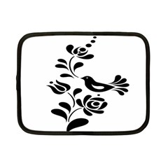 Birds Flower Rose Black Animals Netbook Case (small)