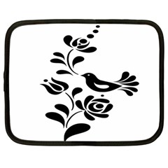 Birds Flower Rose Black Animals Netbook Case (large)